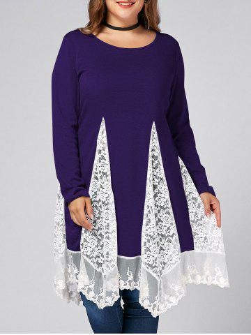 Discount Plus Size Lace Trim  Swing Long Sleeve T-shirts