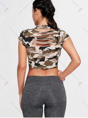 Latest Sports Camouflage Crew Neck Ripped Crop T-shirt - S ARMY GREEN CAMOUFLAGE Mobile