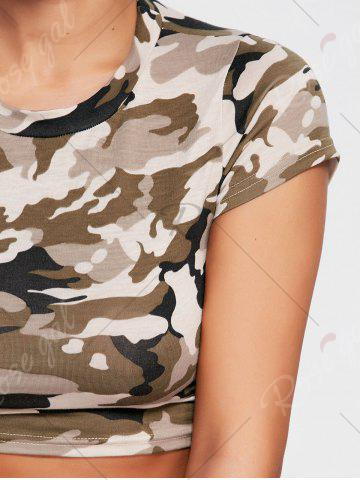 Trendy Sports Camouflage Crew Neck Ripped Crop T-shirt - L ARMY GREEN CAMOUFLAGE Mobile