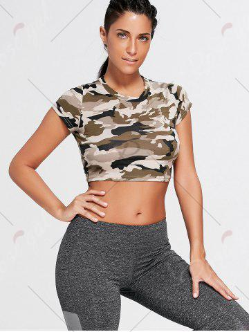 Latest Sports Camouflage Crew Neck Ripped Crop T-shirt - L ARMY GREEN CAMOUFLAGE Mobile