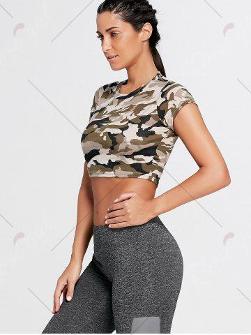 Affordable Sports Camouflage Crew Neck Ripped Crop T-shirt - L ARMY GREEN CAMOUFLAGE Mobile