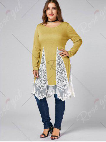 Best Plus Size Lace Trim  Swing Long Sleeve T-shirts - YELLOW 3XL Mobile