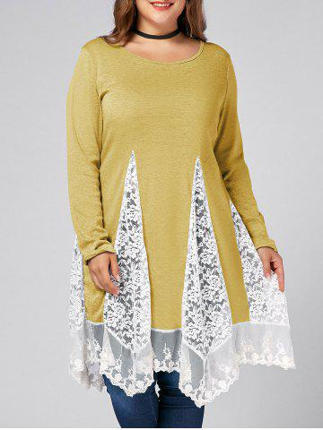 Best Plus Size Lace Trim  Swing Long Sleeve T-shirts - YELLOW 2XL Mobile
