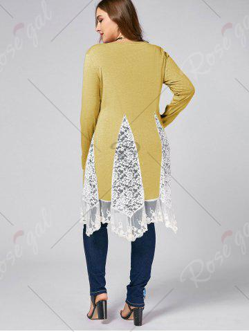 New Plus Size Lace Trim  Swing Long Sleeve T-shirts - YELLOW XL Mobile