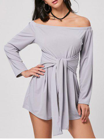 Buy Belted Long Sleeve Off Shoulder Romper GRAY S