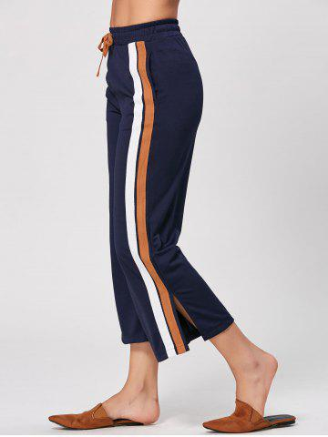 Casual Double Striped Drawstring Pants - Cadetblue - 2xl