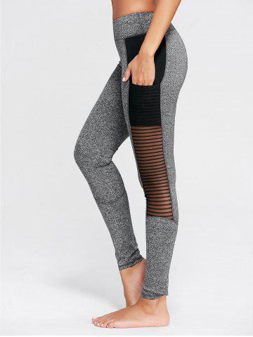 Buy See Through Mesh Panel Fitness Tights - S GRAY Mobile