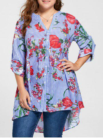 Plus Size Floral Babydoll Blouse - Blue - 3xl