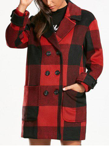 Fashion Double Breasted Tartan Pea Coat - S RED WITH BLACK Mobile