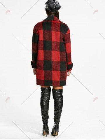 Best Double Breasted Tartan Pea Coat - M RED WITH BLACK Mobile