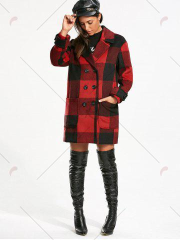 Latest Double Breasted Tartan Pea Coat - M RED WITH BLACK Mobile