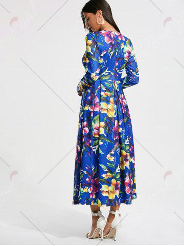Outfits Full Flower Print Long Sleeve Maxi Dress - S COLORMIX Mobile