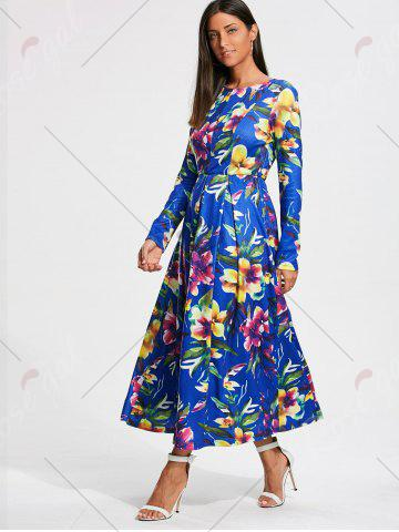 Fashion Full Flower Print Long Sleeve Maxi Dress - S COLORMIX Mobile