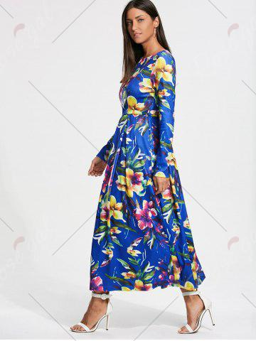 Cheap Full Flower Print Long Sleeve Maxi Dress - S COLORMIX Mobile