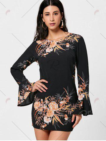 Sale Floral Flare Sleeve Chiffon Shift Dress - S BLACK Mobile