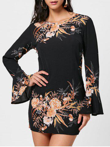 Cheap Floral Flare Sleeve Chiffon Shift Dress - S BLACK Mobile