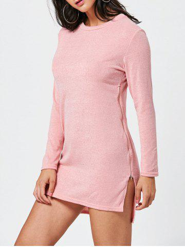 Unique Long Sleeve Sweater Shift Dress with Zipper - M PINK Mobile