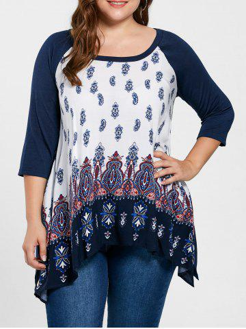 Hot Plus Size Paisley Crescent Hem Top PURPLISH BLUE 3XL