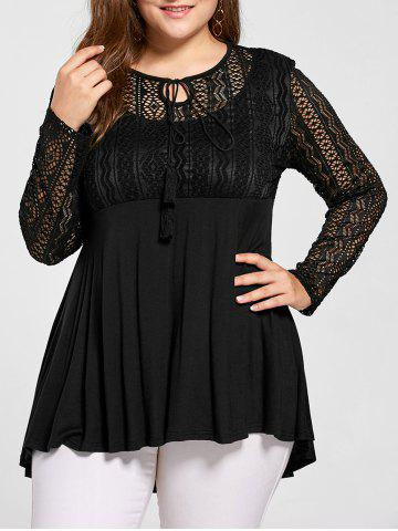 Plus Size Lace Trim Peplum Top - Black - 4xl