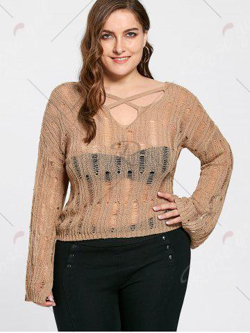Chic Plus Size Sheer Cutout Distressed Sweater - ONE SIZE APRICOT Mobile