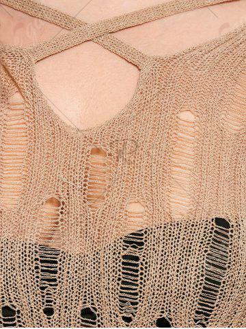Fashion Plus Size Sheer Cutout Distressed Sweater - ONE SIZE APRICOT Mobile
