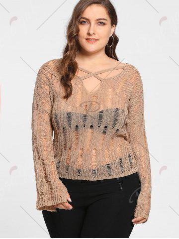 Outfit Plus Size Sheer Cutout Distressed Sweater - ONE SIZE APRICOT Mobile