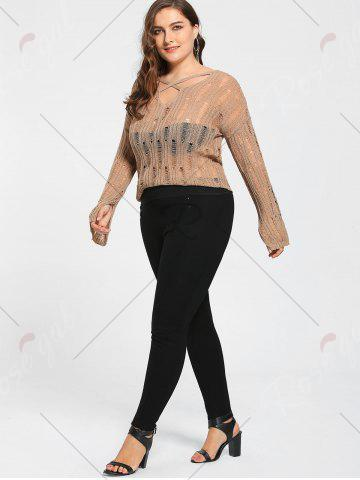 Fancy Plus Size Sheer Cutout Distressed Sweater - ONE SIZE APRICOT Mobile
