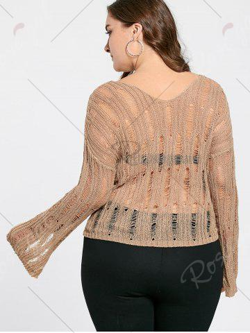 Affordable Plus Size Sheer Cutout Distressed Sweater - ONE SIZE APRICOT Mobile
