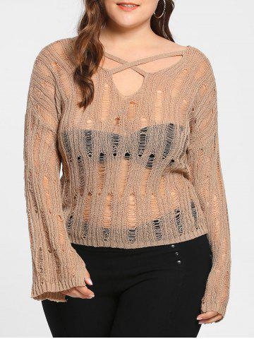 Shops Plus Size Sheer Cutout Distressed Sweater APRICOT ONE SIZE