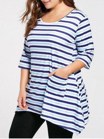 New Plus Size Pocket Asymmetric Striped Tunic T-shirt BLUE 3XL