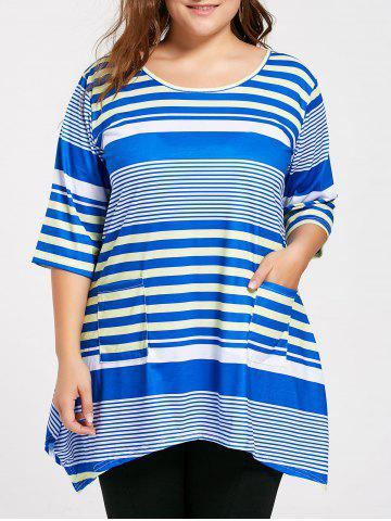 Online Plus Size Pocket Long Stripe Swing T-shirt - 2XL BLUE Mobile