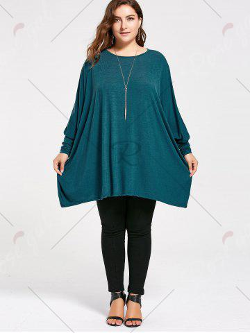 New Plus Size Long Batwing Sleeve Poncho T-shirt - 2XL MALACHITE GREEN Mobile