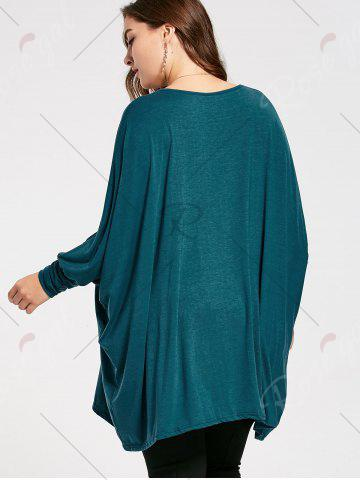Outfits Plus Size Long Batwing Sleeve Poncho T-shirt - 2XL MALACHITE GREEN Mobile