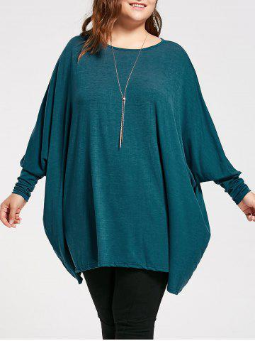 Unique Plus Size Long Batwing Sleeve Poncho T-shirt - 2XL MALACHITE GREEN Mobile