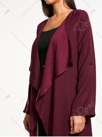 Best Split Back Longline Waterfall Coat - L BORDEAUX Mobile