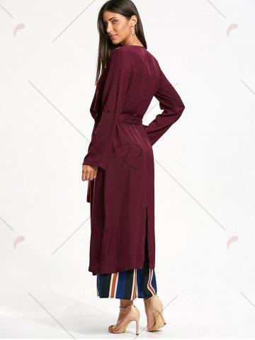 Unique Split Back Longline Waterfall Coat - L BORDEAUX Mobile