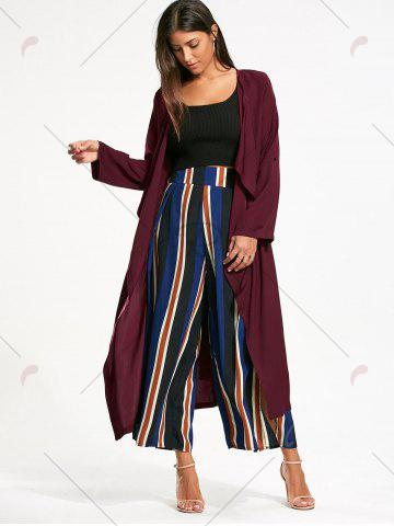 Discount Split Back Longline Waterfall Coat - L BORDEAUX Mobile