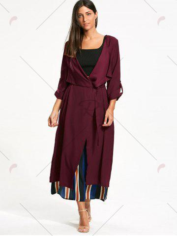 Online Split Back Longline Waterfall Coat - L BORDEAUX Mobile
