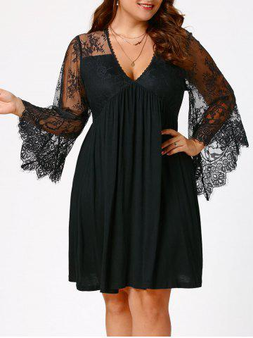 Fancy Plus Size Lace Sleeve Holiday Dress BLACK 4XL
