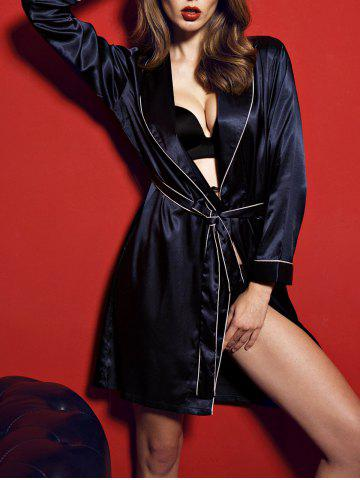 Satin Kimono Long Sleeve Wrap Robe - Midnight - 2xl