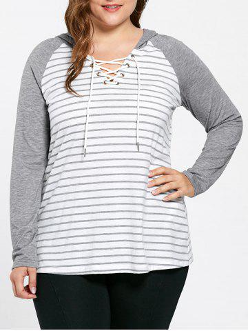 Plus Size Ralgan Sleeve Lace Up Striped Hooded T-shirt - Stripe - 4xl