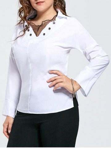 Store Plus Size Eyelet Long Sleeve Shirt with Sheer Voile - 3XL WHITE Mobile