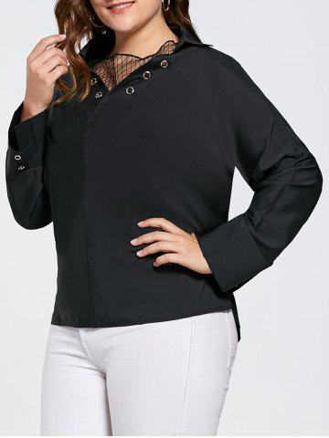 Online Plus Size Eyelet Long Sleeve Shirt with Sheer Voile - 2XL BLACK Mobile