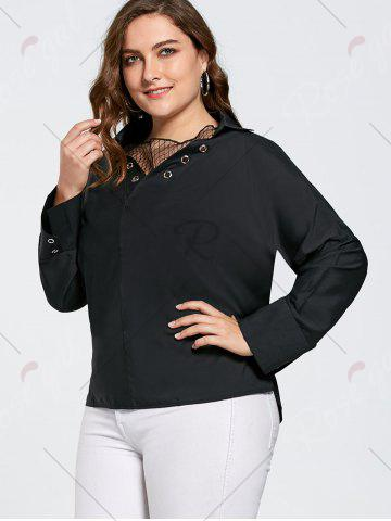 Fancy Plus Size Eyelet Long Sleeve Shirt with Sheer Voile - 3XL BLACK Mobile