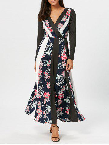 Floral Print Panel Surplice Maxi Dress - Black - 2xl