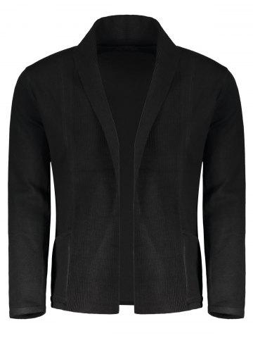 Black M Shawl Collar Open Front Mens Cardigan | RoseGal.com