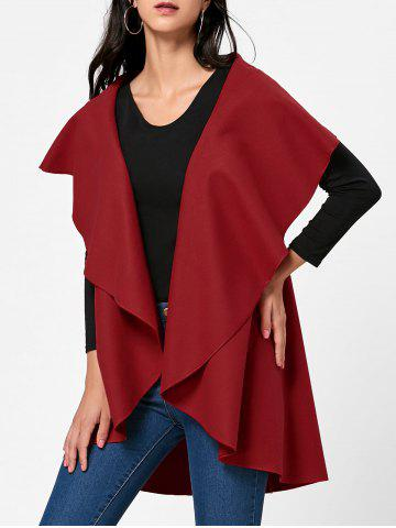 Latest Open Front Wool Blend Sleeveless Cape RED ONE SIZE
