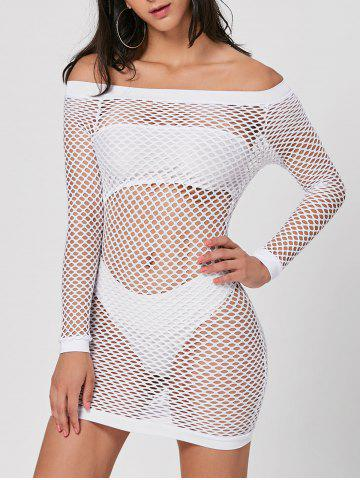 Unique Long Sleeve Off The Shoulder Sheer Dress - S WHITE Mobile