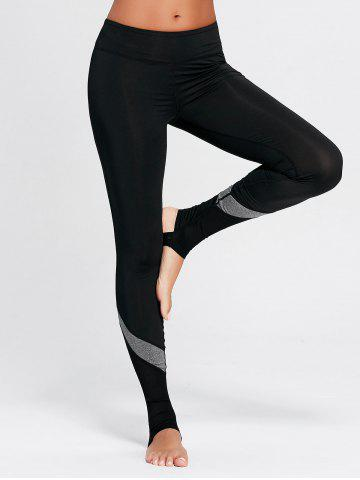 Discount Workout Stirrup Leggings with Mesh Panel BLACK S
