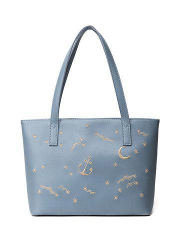 Online Embroidery Faux Leather Shoulder Bag - BLUE  Mobile